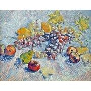 Tableau -Nature morte avec pommes, poires, citrons et les raisins. 1887-