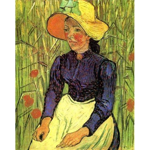 Tableau -Jeune paysanne assise devant un champ de blé-