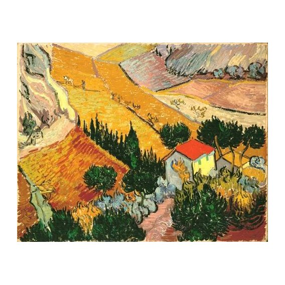 pinturas de paisagens - Quadro -Landscape with House and Ploughman, 1889-