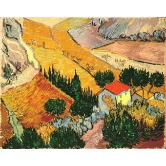 Tableau -Paysage avec maison et laboureur, 1889-