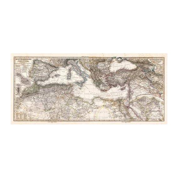 imagens de mapas, gravuras e aquarelas - Quadro -Mar Mediterraneo y Norte de Africa (1875)-