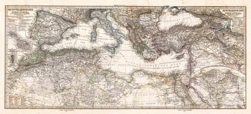 tableaux-cartes-du-monde-dessins - Tableau -Mar Mediterraneo y Norte de Africa (1875)- - Anciennes cartes