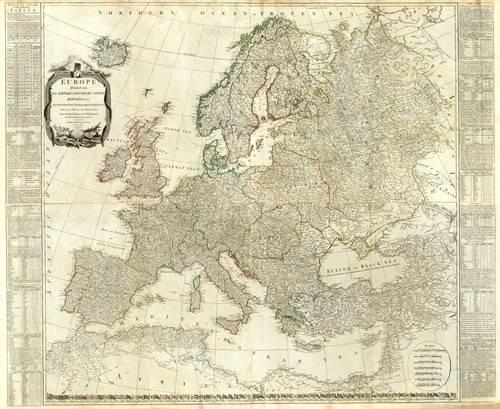 tableaux-cartes-du-monde-dessins - Tableau -Europa (1787)- - Anciennes cartes