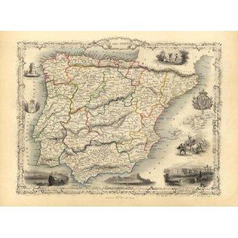 Tableaux cartes du monde, dessins - Tableau -España y Portugal (1851)- - Anciennes cartes