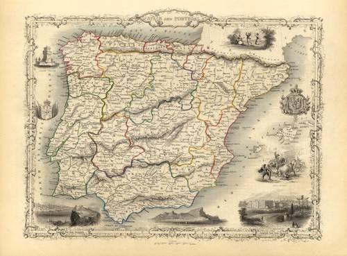 tableaux-cartes-du-monde-dessins - Tableau -España y Portugal (1851)- - Anciennes cartes