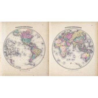 Tableaux cartes du monde, dessins - Tableau -Hemisferios Este y Oeste (1855)- - Anciennes cartes