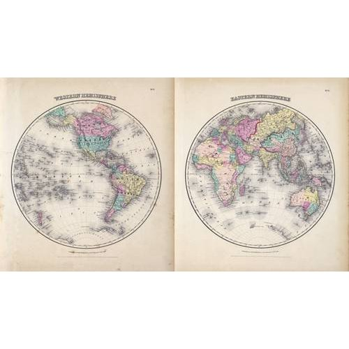 imagens de mapas, gravuras e aquarelas - Quadro -Hemisferios Este y Oeste (1855)-