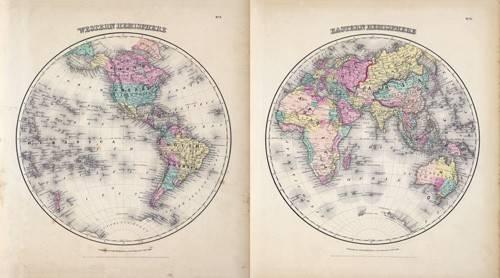 tableaux-cartes-du-monde-dessins - Tableau -Hemisferios Este y Oeste (1855)- - Anciennes cartes