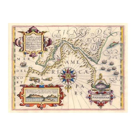 imagens de mapas, gravuras e aquarelas - Quadro -Estrecho de Magallanes (Jodocus Hondius)-