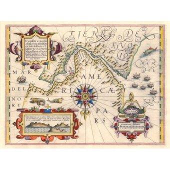 Tableaux cartes du monde, dessins - Tableau -Estrecho de Magallanes (Jodocus Hondius)- - Anciennes cartes