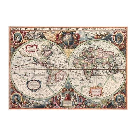 imagens de mapas, gravuras e aquarelas - Quadro -Nova totius Terrarum Orbis geographica ac hydrographica tabula