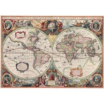 Tableaux cartes du monde, dessins - Tableau -Nova totius Terrarum Orbis geographica ac hydrographica tabula - Anciennes cartes