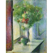 Tableau -Still life with a bunch of flowers by the window-
