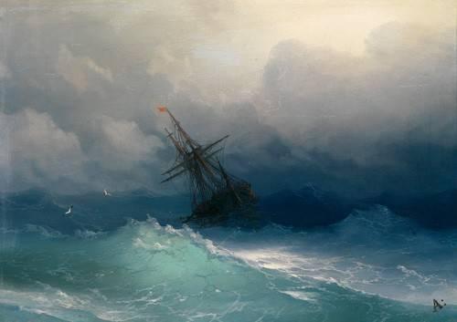 tableaux-de-paysages-marins - Tableau -Ship on Stormy Seas- - Aivazovsky, Ivan Konstantinovich