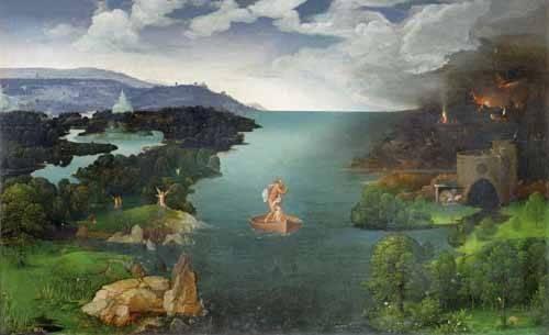 tableaux-de-paysages - Tableau -El paso de la laguna Estigia- - Patinir, Joachim