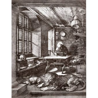 Tableaux cartes du monde, dessins - Tableau -San Jeronimo en su estudio- - Dürer, Albrecht (Albert Durer)