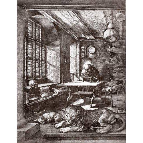 imagens de mapas, gravuras e aquarelas - Quadro -San Jeronimo en su estudio-
