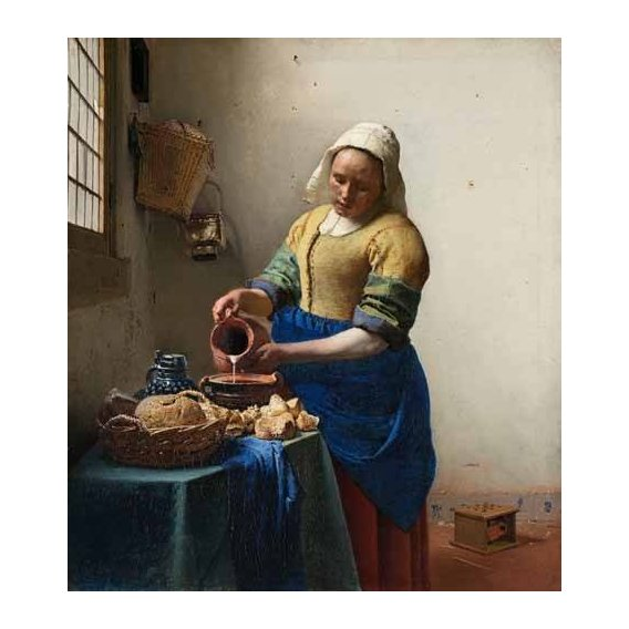 pinturas do retrato - Quadro -The Milkmaid, 1660-