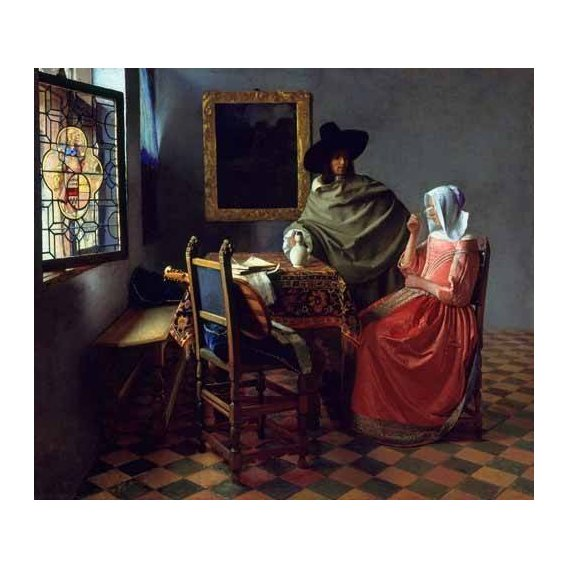 pinturas do retrato - Quadro -The Glass of Wine-