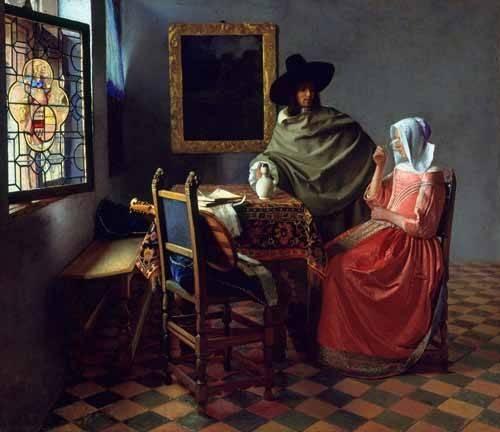 tableaux-de-personnages - Tableau -Le Verre de vin- - Vermeer, Johannes