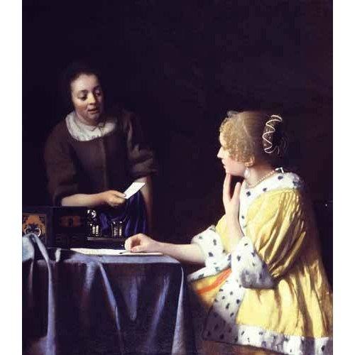 pinturas do retrato - Quadro -Mistress and Maid ca. 1666-1667-