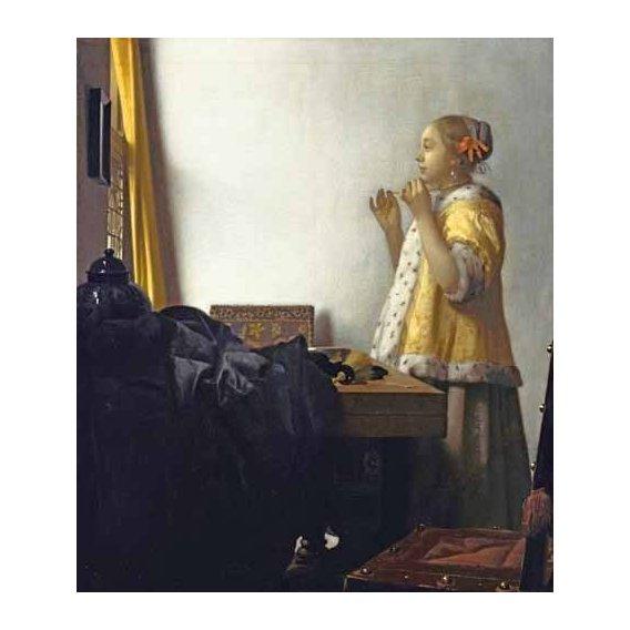 pinturas do retrato - Quadro -Young Woman with a Pearl Necklace, 1662-