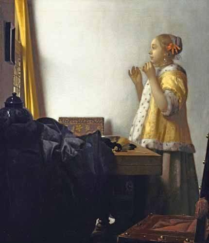 tableaux-de-personnages - Tableau -La Dame au collier de perles, 1662- - Vermeer, Johannes