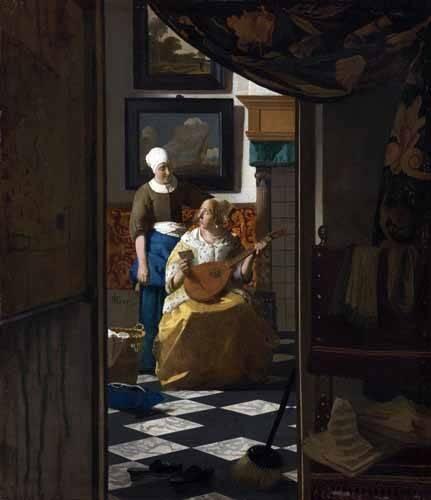 tableaux-de-personnages - Tableau -La Lettre d'amour, 1669- - Vermeer, Johannes