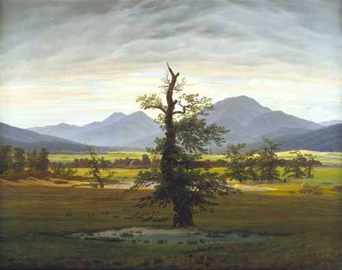 tableaux-de-paysages - Tableau -Solitary Tree (also known as Village Landscape in Morning Light - Friedrich, Caspar David