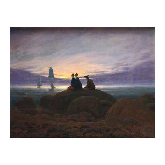 pinturas de paisagens marinhas - Quadro -Moonrise over the Sea, 1822-