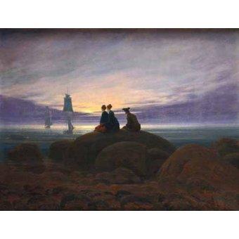 Tableaux de paysages marins - Tableau -Moonrise over the Sea, 1822- - Friedrich, Caspar David