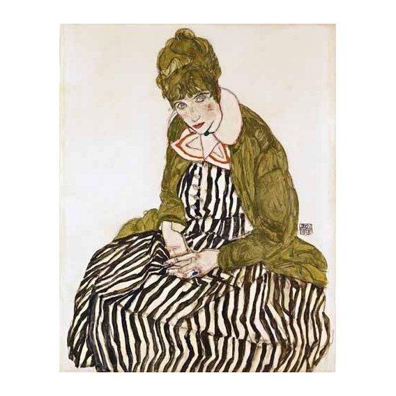 pinturas do retrato - Quadro -Edith Schiele in Striped Dress, Seated, 1915-