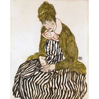 Tableau -Edith Schiele in Striped Dress, Seated, 1915-