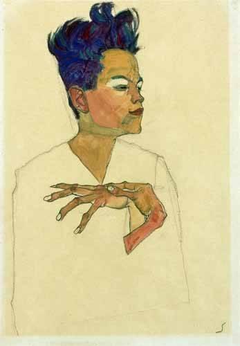tableaux-de-personnages - Tableau -Self-Portrait with Hands on Chest, 1910- - Schiele, Egon