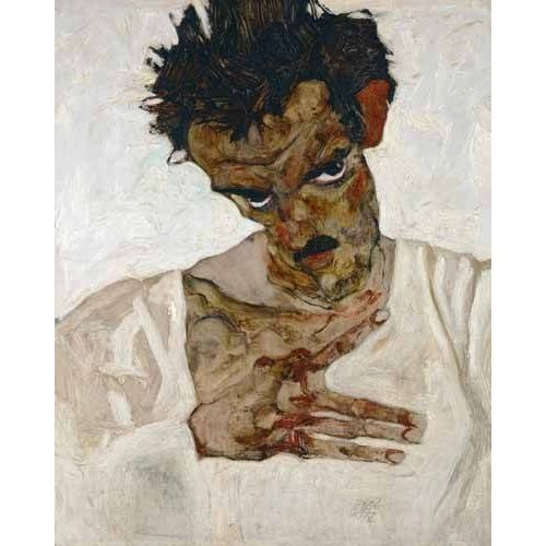 pinturas do retrato - Quadro -Self-portrait with Lowered Head, 1912-