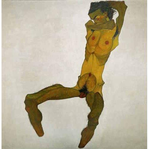 pinturas do retrato - Quadro -Self-portrait, nude-