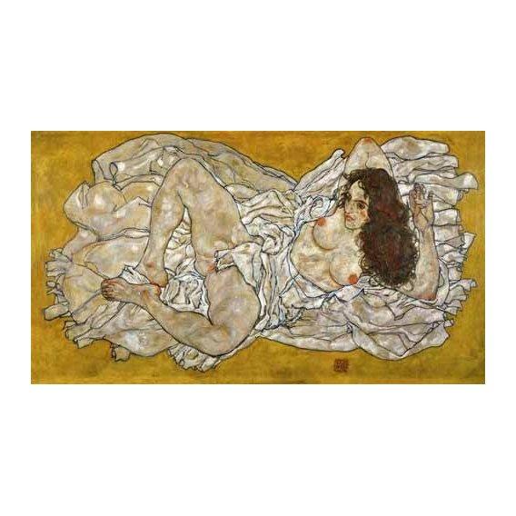 pinturas do retrato - Quadro -Liegende Frau-