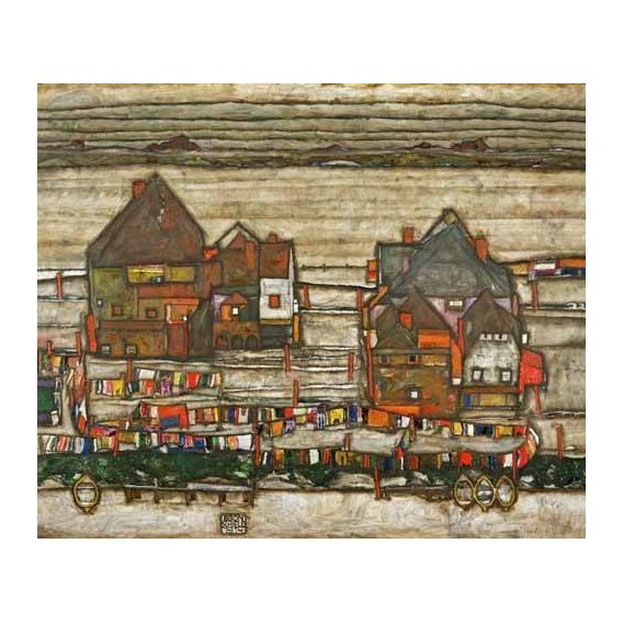 pinturas de paisagens - Quadro -Houses and Colorful Laundry (Two Blocks of Houses with Clothes-