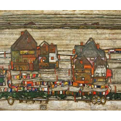 Tableau -Houses and Colorful Laundry (Two Blocks of Houses with Clothes-