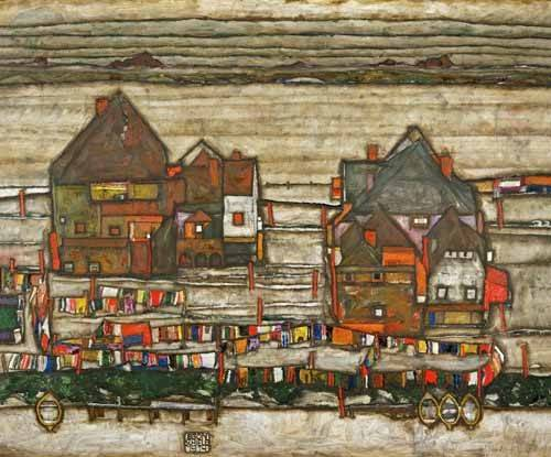 tableaux-de-paysages - Tableau -Houses and Colorful Laundry (Two Blocks of Houses with Clothes- - Schiele, Egon