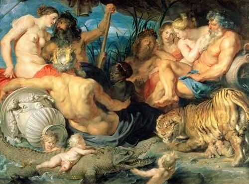 tableaux-de-personnages - Tableau -Los Cuatro Continentes- - Rubens, Peter Paulus