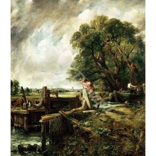 pinturas de paisagens - Quadro -Barges passing a lock on the Stour (La Presa)-