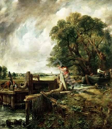 tableaux-de-paysages - Tableau -Barges passing a lock on the Stour (La Presa)- - Constable, John