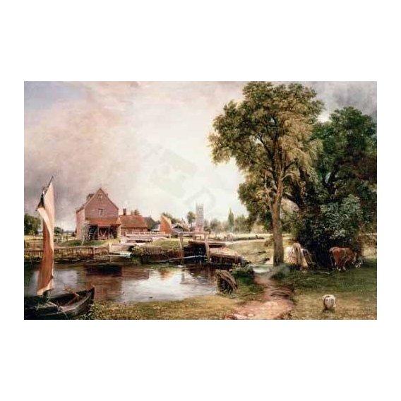 pinturas de paisagens - Quadro -Dedham Lock and Mill, 1820 (oil on canvas)-