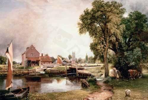 tableaux-de-paysages - Tableau -Dedham Lock and Mill, 1820 (oil on canvas)- - Constable, John