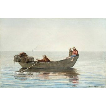 Tableaux cartes du monde, dessins - Tableau -Three Boys in a Dory with Lobster Pots, 1875- - Homer, Winslow