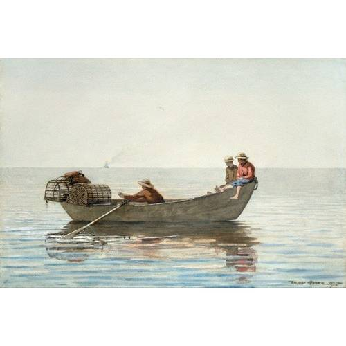 Tableau -Three Boys in a Dory with Lobster Pots, 1875-