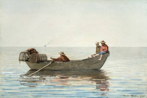 tableaux-cartes-du-monde-dessins - Tableau -Three Boys in a Dory with Lobster Pots, 1875- - Homer, Winslow