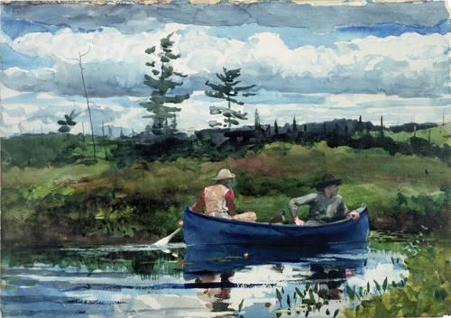 tableaux-cartes-du-monde-dessins - Tableau -The Blue Boat, 1892- - Homer, Winslow