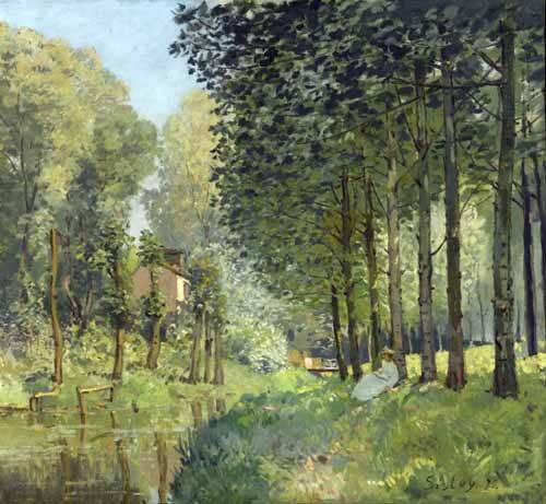 tableaux-de-paysages - Tableau -Rest along the Stream Edge of the Wood, 1878- - Sisley, Alfred